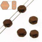 Czech Glass Honeycomb Beads, Jet Bronze